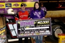 Series champ Casey Roberts picks up the $10,000 check for capturing the Ultimate Super Late Model Series finale Nov. 14 at County Line Raceway. (Larry Burnett)