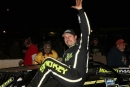 Chris Madden climbs from his car Nov. 21 at Cleveland (Tenn.) Speedway after his $10,000 victory in the 27th annual Gobbler. (ZSK Photography)