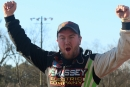 Donald McIntosh celebrates his Jan. 30 Cabin Fever 40 victory at Boyd's Speedway in Ringgold, Ga. (wellsracingphotography.com)