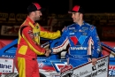 Third-place finisher Tim McCreadie (left) congratulates Josh Richards after Feb. 9's Lucas Oil Series victory at East Bay's 40th Winternationals. (heathlawsonphotos.com)