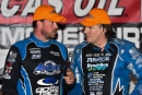 Jonathan Davenport (left) chats with Scott Bloomquist after Friday night's 50-lap Lucas Oil Series Winternationals feature at East Bay Raceway Park. Davenport passed Bloomquist to win the event. (heathlawsonphotos.com)