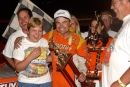 Kyle Berck enjoys Lakeside Speedway's victory lane May 7, 2004. Topless Outlaw Racing Association founder Lonnie Smith is at right. (DirtonDirt.com)