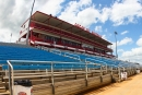 The Lucas Oil Speedway grandstand before the start of Saturday night's Show-Me 100 finale. (heathlawsonphotos.com)