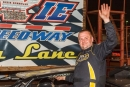 Mike Marlar emerges from his car May 28 at Dixie Speedway in Woodstock, Ga., after his $4,000 Old Man's Garage Spring Nationals victory. (praterphoto.com)