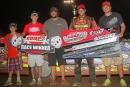 Kyle Beard's team celebrates his June 24 Comp Cams Super Dirt Series victory at I-30 Speedway in Little Rock, Ark. (Woody Hampton)