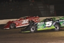 Winner Bobby Pierce (32) repelled Brandon Sheppard (B5) on June 26 at Tri-State Speedway in Haubstadt, Ind., for his fifth UMP DIRTcar Summernationals victory. (Jim DenHamer)