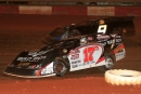 Dale McDowell (17m) keeps Frank Ingram (9) in check en route to a Schaeffer Oil Southern Nationals victory July 24 at Rome (Ga.) Speedway. (Anthony Neff)