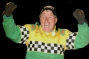 Chris Wall celebrates his $20,005 victory Oct. 8, 2005, in the Magnolia State 100 at Columbus (Miss.) Speedway. (Brian McLeod)