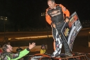 Australian invader Craig Vosbergen is congratulated by Ryan King after July 28's Schaeffer Oil Southern Nationals victory in Crossville, Tenn., his first U.S. win. (Brian McLeod)