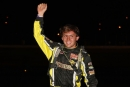 Devin Moran raises a fist after leading all 40 laps of Aug. 21's Fred Dillow Memorial at Portsmouth (Ohio) Raceway Park. (Tyler Carr)