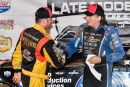 Runner-up Tim McCreadie (left) congratulates Scott Bloomquist after his Aug. 26 Lucas Oil Late Model Dirt Series victory at Ponderosa Speedway in Junction City, Ky. (heathlawsonphotos.com)