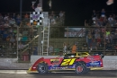 Billy Moyer takes the checkers Aug. 26 at Tri-City Speedway in Granite City, Ill., for a $5,000 MARS DIRTcar Series victory. (connorhamiltonphotography.com)