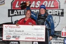 Scott Bloomquist celebrates Aug. 27's Whiskey City 60 victory at Lawrenceburg (Ind.) Speedway. He earned $12,000 on the Lucas Oil Late Model Dirt Series. (heathlawsonphotos.com)