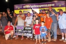 Johnny Pursley's team celebrates his fourth straight victory Aug. 27 in Ultimate Super Late Model Series action at Modoc (S.C.) Raceway. (William Scruggs)