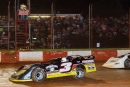 Luther Jenkins (3) edged Johnny Chastain Aug. 27 at Dixie Speedway in Woodstock, Ga., for a Super Late Model victory. (praterphoto.com)