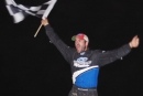 Charlie Sandercock celebrates his $6,000 Great Crate Race victory on Sept. 24. The Go Nuclear Series event was at Brighton (Ontario) Speedway. (Ken Kelly)
