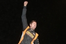 Dustin Strand climbed atop his car Ocxt. 15 to celebrates his second straight victory in Jamestown (N.D.) Speedway's Stock Car Stampede. (crpphotos.com)