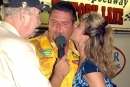 Scott Autry gets a victory lane kiss after winning the 2003 Carolina Clash Super Late Model Series stop at 311 Speedway in Madison, N.C. (DirtonDirt.com)