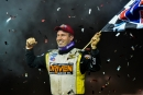 Shane Clanton celebrates his victory in the fog-shortened World of Outlaws Craftsman Late Model Series-sanctioned DIRTcar Nationals feature on Feb. 24 at Volusia Speedway Park in Barberville, Fla. (healthlawsonphotos.com)