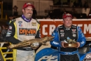 Don O'Neal (right) won the Feb. 25 World of Outlaws-sanctioned finale of the 46th DIRTcar Nationals at Volusia Speedway Park and Shane Clanton (left) was crownd the week's points champion. (heathlawsonophotos.com)