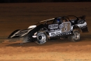 Timothy Culp of West Monroe, La., heads toward his second career Pelican victory at ArkLaTex Speedway in Vivian, La. (scottscustomart.com)