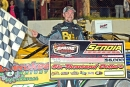 Donald McIntosh's last-lap pass at Senoia was worth a $6,000 Schaeffer Oil Spring Nationals victory. (Brian McLeod)