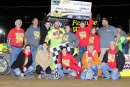 Shaun Jones and his supporters celebrate May 20 at Hesston (Pa.) Speedway after his victory on the Mason-Dixon Shootout Series. (Brian Crotsley/wrtspeedwerx.com)
