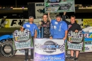 Jesse Stovall's team enjoys victory lane after May 20's MARS West victory at Longdale (Okla.) Speedway. (Gary Pigg/ImageZx2)