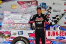 Earl Pearson Jr. poses in victory lane after winning the Cowboy Classic on May 25 to kick off the Show-Me 100 weekend at Lucas Oil Speedway in Wheatland, Mo. (heathlawsonphotos.com)