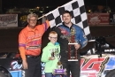 Tod Pospisil enjoys victory lane for his ninth career Malvern Bank series win. (Jeff Byslma)